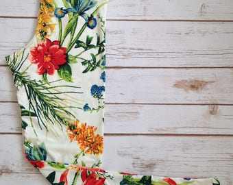 Brushed Poly Leggings, Tropical Floral on White