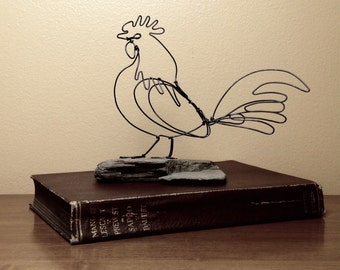 Rooster wire sculpture. Rooster kitchen decor. Farmhouse decor. Barnyard nursery. Primitive country. Rustic home decor. Kitchen art.