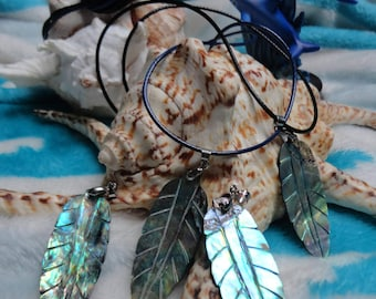 """necklace """"between land and sea"""", thin sheet of abalone"""