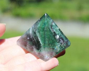 Medium Sized Green And Purple Rainbow Fluorite Pyramid