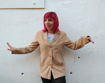 SUEDE BEIGE JACKET / / vintage clothing / / brown suede jacket / / gift for women / / made in spain