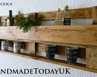Rustic Industrial Kitchen Organiser Shelf Unit with Cup Holder made from Recycled Pallet Wood