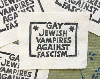 Gay Jewish Vampires Against Fascism! patch, gay patch, jewish patch, vampires, funny patch, fantasy, political patch, queer patch, lgbt
