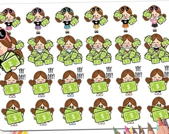 Pay Day Planner Stickers | Pay Day Stickers | Payday Stickers | Kawaii Asian Blonde Brunette Redhead Black Girl Stickers Fits ECLP and More