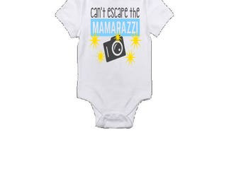 Can't escape the mamarazzi, vinyl printed, cotton onesie, bodysuit, baby, funny, modern