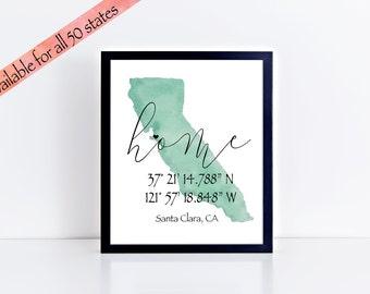 Coordinates Gift California Wall Art Personalized Coordinates Print Custom Coordinates Print Coordinates Sign Coordinate Print New Home Gift
