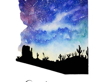 "Desert Arizona Galaxy in Watercolor- 9"" x 12"" Print"