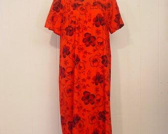 Vintage Dress,  Hawaiian dress, hawaiian mumu, vintage clothing, Large