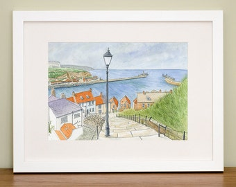 Whitby, 199 Steps - North Yorkshire Coast - Coastal - British Seaside - Landscape Art - Watercolor Print