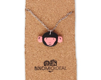 Necklace mono pink made by hand (Handmade pink monkey necklace)