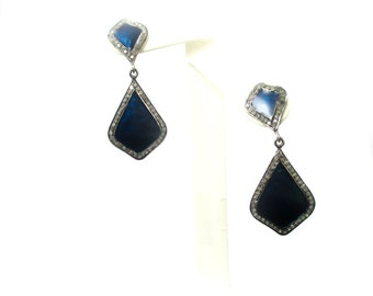 Beautiful Antique-Inspired Vintage Blue Enamel & Diamond Sterling Post Earrings