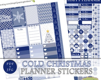 Cold Christmas Printable Planner Stickers, Happy Planner Printable Stickers, Winter Mambi Stickers, January Printable Weekly Sticker Kit