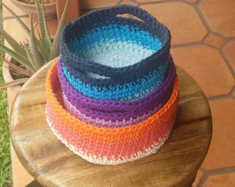 Crochet basket pattern multiple sizes