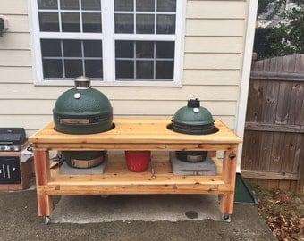 "Table for Big Green Egg (Kamado style smoker grill) 70"" table top ATLANTA ONLY"