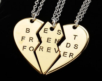 """Gold 3 Piece Heart """"Best Friends Forever"""" Inscribed Necklaces NK4070i"""