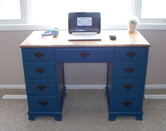 Refinished Navy Blue Desk with Honey Stained Top, Office, Dorm, Vintage, Country decor