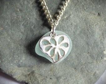 SALE 1/3 OFF - Ornate Heart, Seaglass Pendant, Charm Necklace, Hearts, Sea Glass Jewelry, Valentine Jewellery, Love Gift, Romance -PC17036