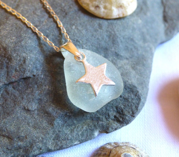 Sea Glass Pendant Necklace with Sterling Silver Star Charm - goth witch witchy emo hippie earth earthy night pagan witchcraft - PE16012