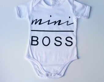 Mini Boss White Baby Vest 3-6 Months, baby grow, baby onesie, baby gift