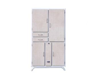 French vintage kitchen Cabinet, beige formica and wood kitchen storage cabinet, vintage formica furniture, kitchen sideboard, vaisselier