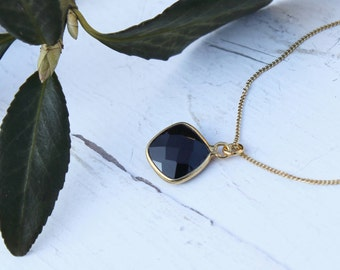 Onyx necklace from sterling silver 925 gold plated