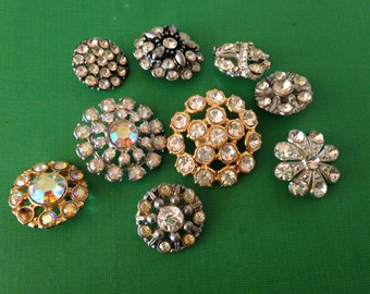 Vintage Rhinestone and Glass Buttons