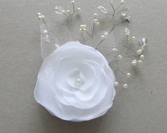 Bridal Barrette White Flower Cristal Hair Piece Flower Wedding Hair Clip