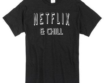 Netflix and Chill T-Shirt black 100% cotton