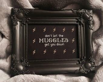 MUGGLES Harry Potter framed cross stitch