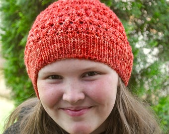 Hand Knit Hat - Slouchy Hat - Lace Hat - Hand Knit Beanie - Hand Dyed Soft Merino Wool - Lace and Flames