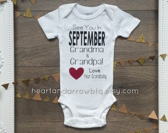 Personalized Grandparent Announcement Onesie® / Bodysuit / Newborn / Baby / Maternity / Photography/ Surprise/ Reveal/Gift