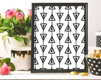 Triangle Pattern Print, Tribal style, Black And White, Digital art, Black Ink, Minimalist Print, Home Decor, Nursery Decor, Instant Download