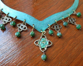 A Night In The Forest-Vintage style brass necklace with verdigris patina