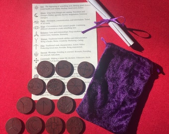 Hand Burned Witches Runes Set