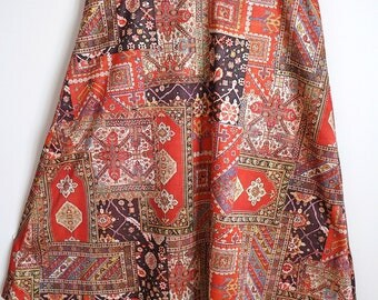 Amazing Vintage 1970s A line skirt hand made Hippy Tapestry print 12