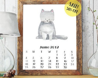 SALE! 2017 printable calendar 2017 monthly calendar cute cats wall calednar desk calendar nursery calendar gift for cat lovers nursery decor