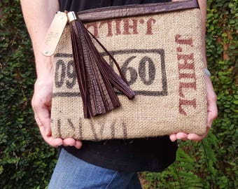 Burlap Leather Clutch Medium Clutch Zipper Clutch Leather Tassel Upcycled Coffee Bean Sack