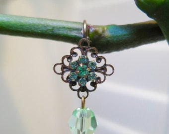 Austrian Crystal Flower Drop ~ filigree flower drop