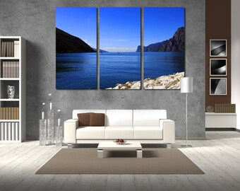 Large Wall Ocean & Mountain Canvas Color Surfer Multipanel Canvas Mountain Art Large Ocean 1-3-4-5 Panels Set Canvas Seaside Wall Large