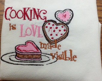 Cooking is Love Flour Sack Dish Towel