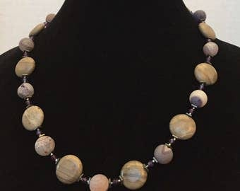 Garnet, Agate, Marble and Hematite Necklace
