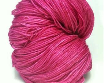 PEONY, Hand Dyed Sock Yarn, Indie Dyed Wool Sock Yarn, Indie Hand Dyed Yarn, Merino Sock Yarn, Bright Pink Sock Yarn