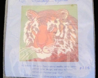 Needlepoint Vintage Something Special Lion Neepoint Kit 5 x 5 Cotton floss Unopened Candamar Designs 316 1980s