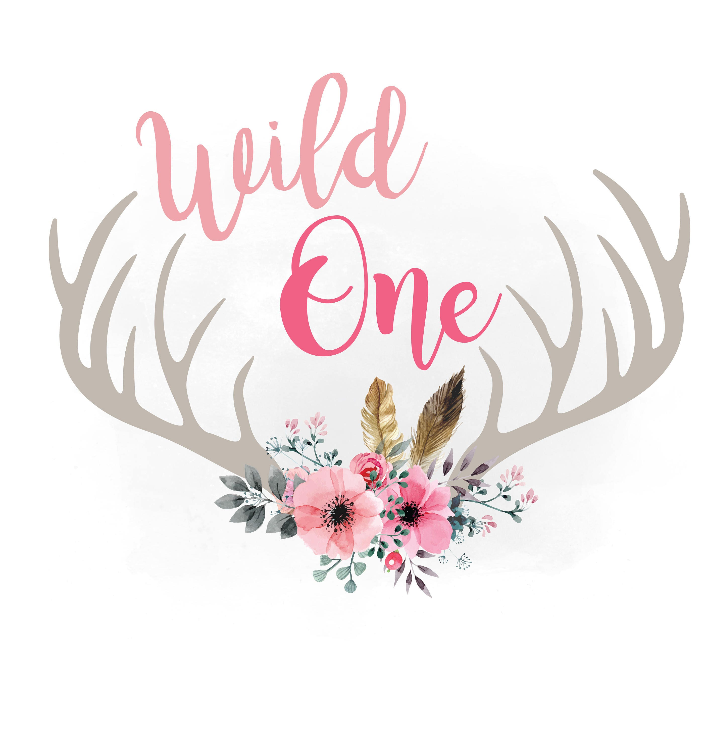 Wild One Svg Clipart Floral Antlers Svg Feathers And