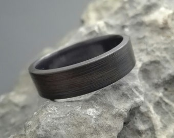 Titanium ring with an antiqued finish, dark titanium band, titanium wedding ring, black titanium ring men, mens weddinging band black