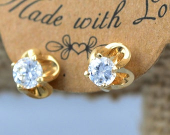SOLITAIRE EARRINGS in 14 karat yellow gold and screw back with .50 carat simulated diamond stud  gold earring, bridal gift gold stud earring