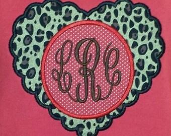 Scalloped Heart Applique Design/ Valentine Applique/ Valentine Shirt/ Girls Valentine Applique Design/ Girls Shirt