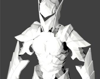 Skyrim cosplay Female Ebony wearable armor suit replica 3-D pepakura blueprints to build your own.