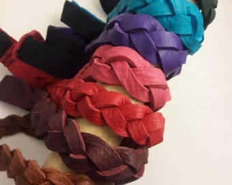 Braided, Leather, Headband, Adult, Small, Medium, Rainbow, Hair