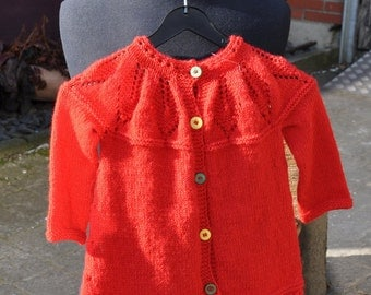 Baby jacket with leaf pattern on the collar, hand knitted